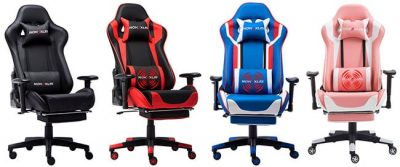 gaming chair with massage and footrest